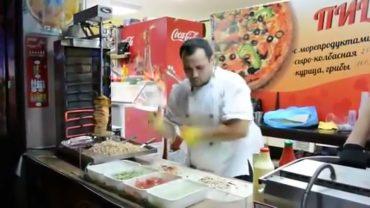 This kebab chef really has skills!